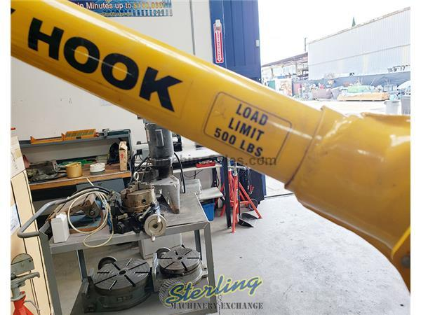Sky Hook portable steel crane lifting device, Grizzly # 8557 , 500 lb., 4 swivel casters, fixed base, manual crank, #A5528
