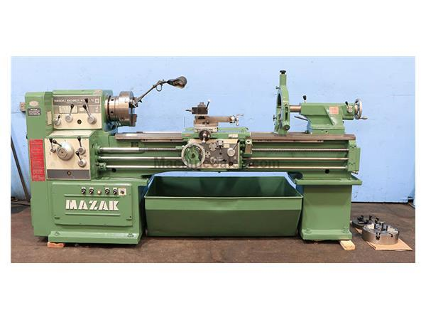 "18"" Swing 60"" Centers Mazak 18"" X 60"" ENGINE LATHE, Inch/Metric, Gap, 3- Jaw, Steady, 3"" Hole, 10 HP,"