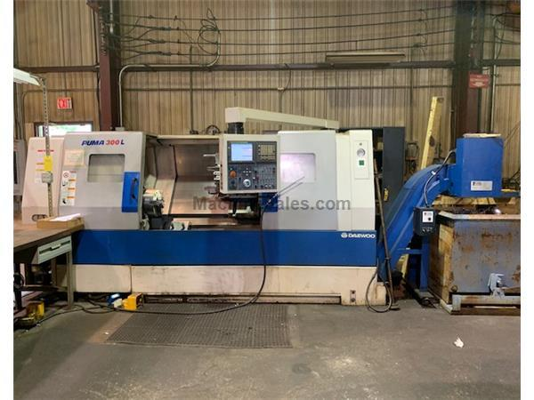"23"" Swing 52.8"" Centers Daewoo Puma 300LC CNC LATHE, Fanuc 21iTB, 12""chk. Steadyrest, Tailstck., Chip"
