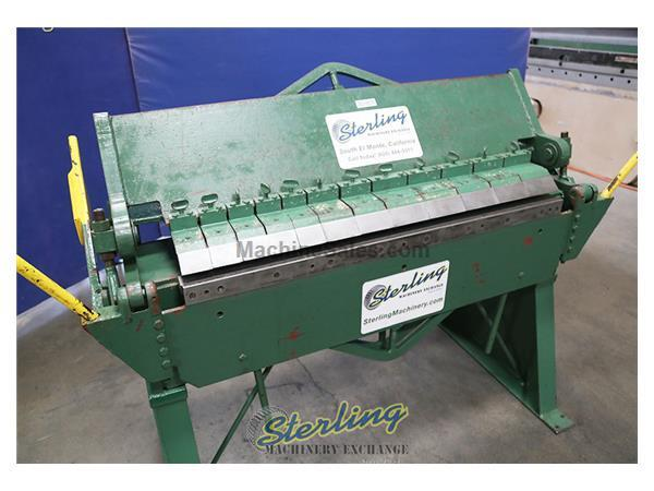 14 ga. x 4' Chicago #BPO-414-6, heavy duty finger brake, 2-counter weights, stand, #A5901