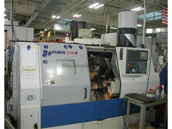 "20"" Swing 17"" Centers Daewoo Puma 230SA CNC LATHE, Fanuc 18iT, Subspindle Chip Conveyor"