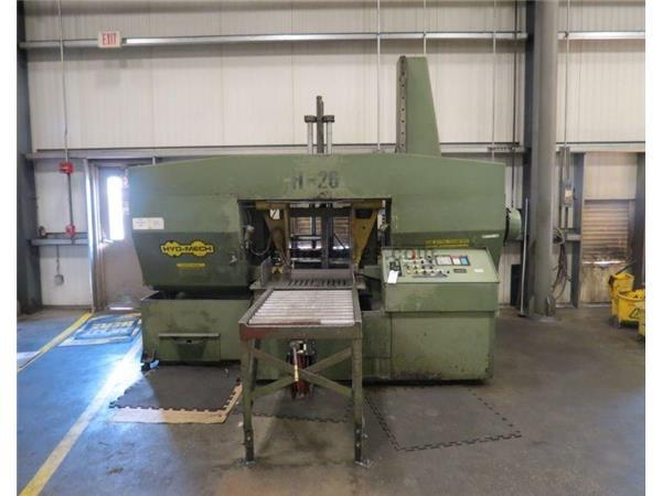 "26"" x 26"" Hyd-Mech # H-26A , horizontal automatic band saw, 25' x 2"" x .063"" blade, 40-300 FPM, 1997"