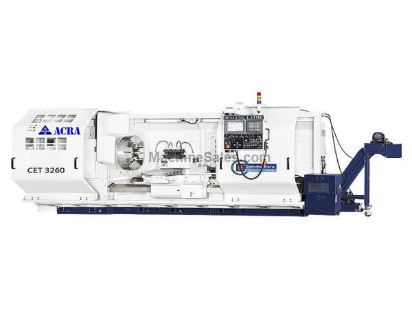 "28"" X 80"" ACRA MODEL CET2880 HOLLOW SPINDLE CNC FLAT BED LATHE WITH FANUC OITF CONTROLLER"