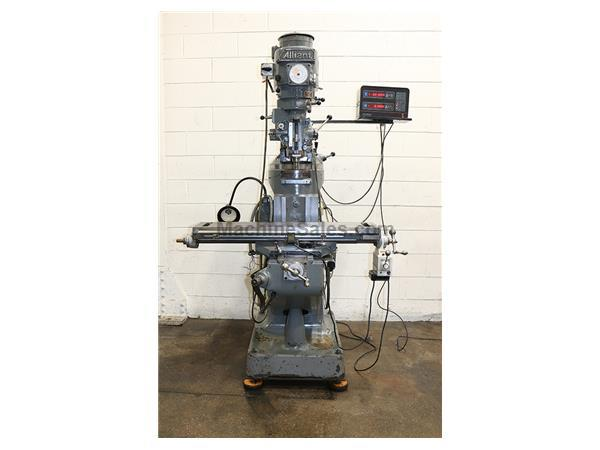 "42"" Table 2HP Spindle Alliant 42VC VERTICAL MILL, Vari-Speed, Power Table Feed, Chrome Ways, R-8,DRO"