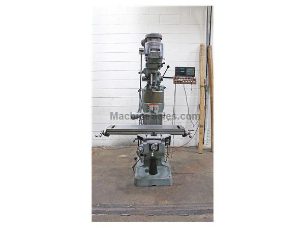 "42"" Table 2HP Spindle Bridgeport Series I VERTICAL MILL, Vari-Speed, Chrome, R-8, Mitutoyo DRO"